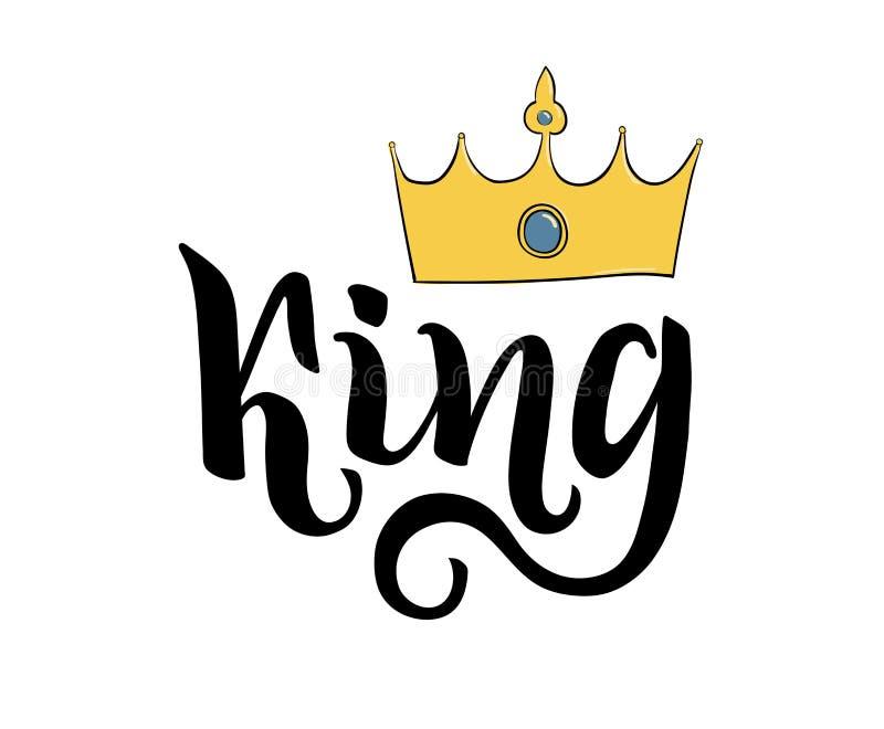 Rey que pone letras al dibujo de la mano Corona de la palabra escrita y del ejemplo ilustración del vector