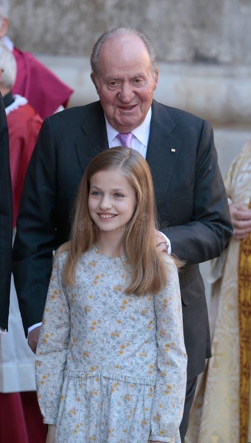 Rey real español Juan Carlos y princesa Leonor imágenes de archivo libres de regalías