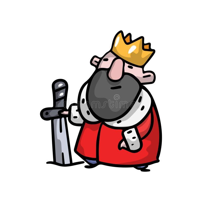 Rey real medieval con la corona del oro, manta rojo libre illustration