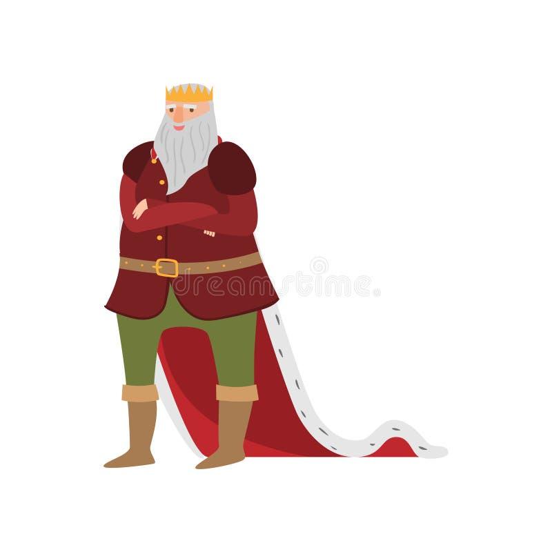 Rey real sonriente feliz del cuento de hadas en ropa larga stock de ilustración