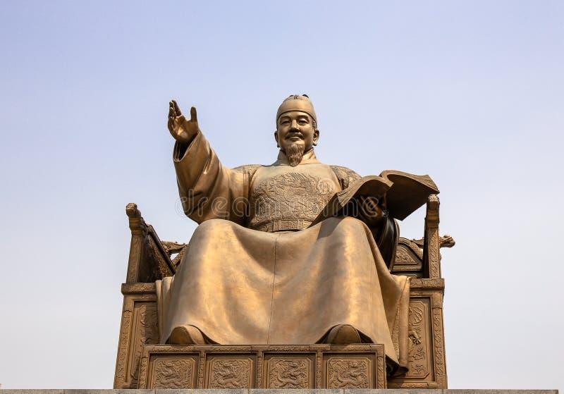 Rey Sejong Statue auténtico, en la plaza de Gwanghwamun imagen de archivo