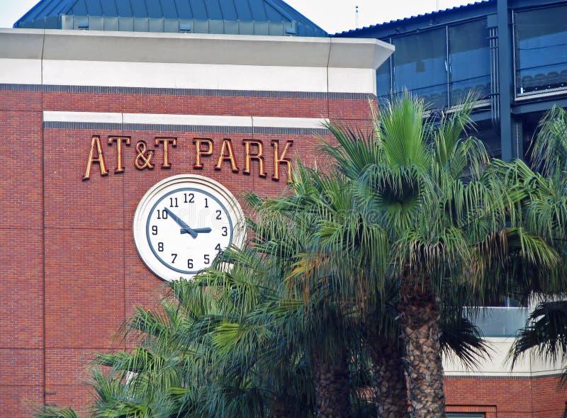 Rey Street Clock Tower del parque del béisbol de AT&T foto de archivo libre de regalías