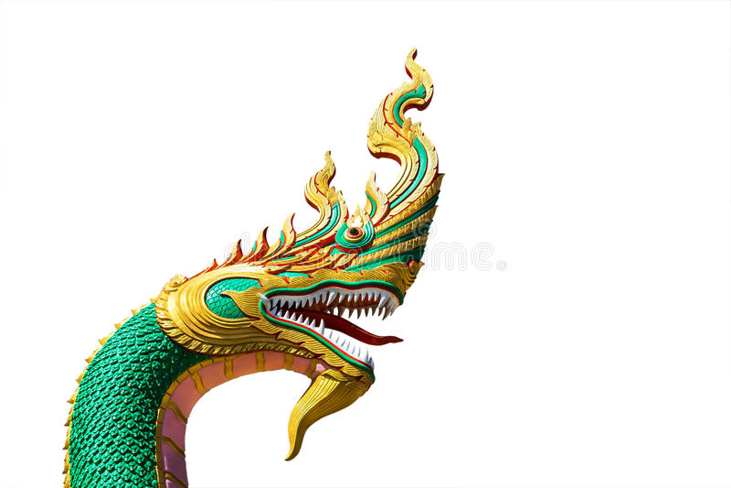 Rey tailandés del dragón o de la serpiente o rey de la estatua del naga en templo tailandés foto de archivo