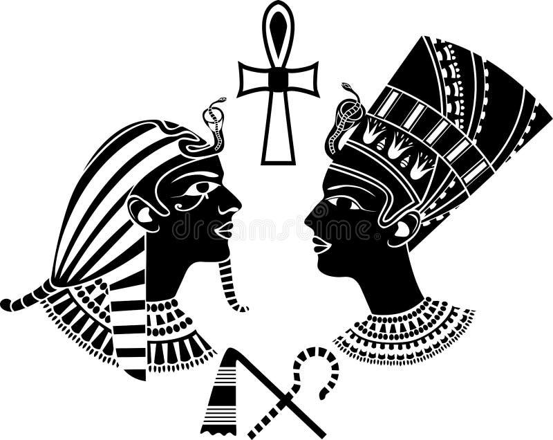 Rey y reina antiguos de Egipto ilustración del vector