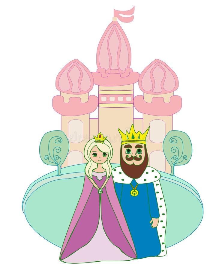 Rey y reina delante del castillo ilustración del vector