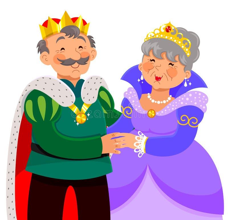 Rey y reina mayores stock de ilustración