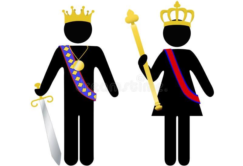 Rey y reina reales de la persona del símbolo con las coronas ilustración del vector