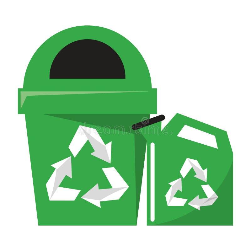 Reycle kubeł na śmieci i wody puszka ilustracja wektor