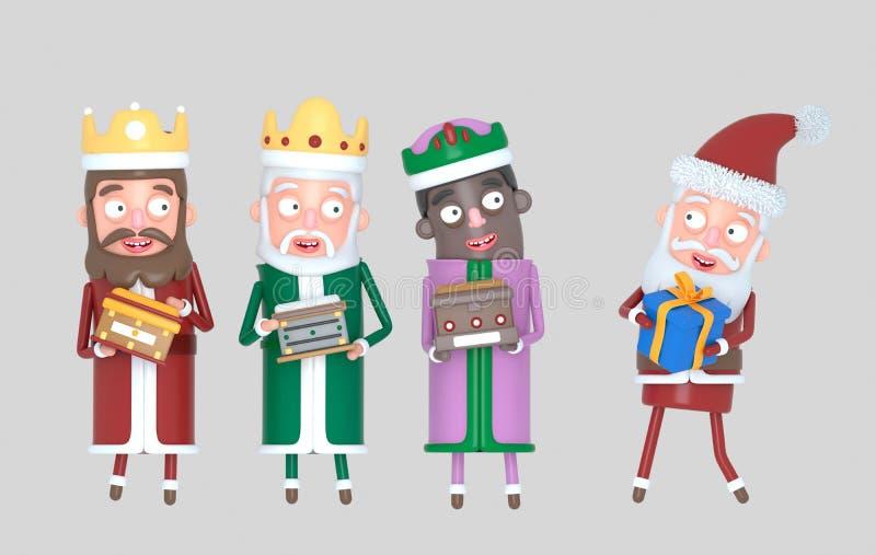 Reyes mágicos y Santa Claus del árbol que llevan a cabo presentes Aislado ilustración 3D stock de ilustración
