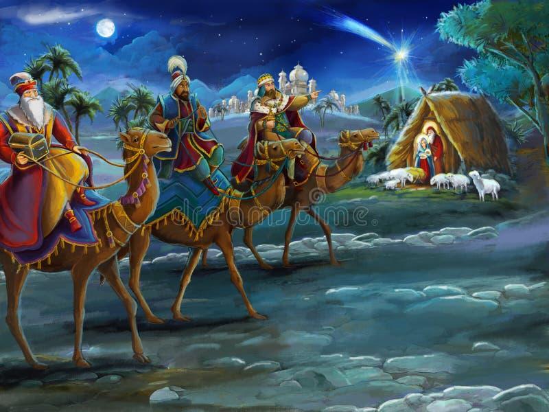 Reyes religiosos del ejemplo tres - y familia santa - escena tradicional libre illustration