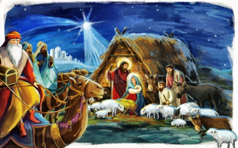 Reyes religiosos del ejemplo tres - y familia santa - tradición ilustración del vector