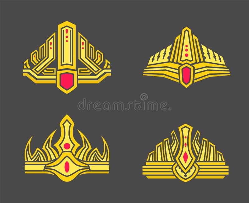 Reyes y coronas del oro del Queens integradas con las gemas libre illustration
