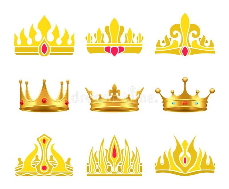 Reyes y coronas del oro del Queens integradas con las gemas stock de ilustración