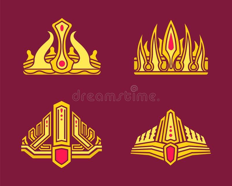 Reyes y coronas del oro del Queens integradas con las gemas ilustración del vector