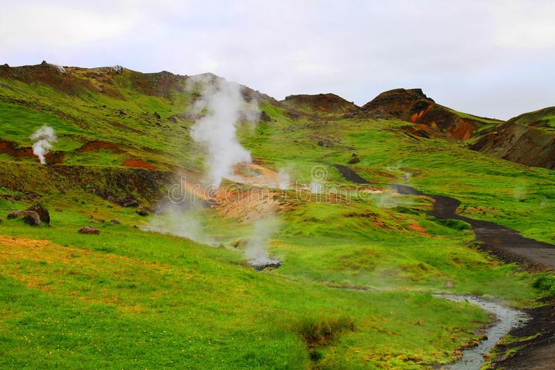 Reykjadalur Hot Spring Thermal River. Iceland royalty free stock photos