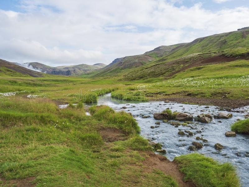 Reykjadalur valley with hot springs river with lush green grass meadow and hills with geothermal steam. South Iceland royalty free stock image