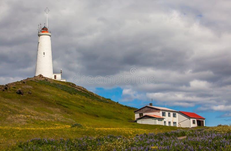 Reykjanesvuurtoren, IJsland stock fotografie