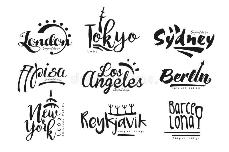 Имена городов, Лондона, Токио, Сиднея, Пизы, Лос-Анджелеса, Берлина, Нью-Йорка, Рейкявика, Барселоны, дизайна литерности города бесплатная иллюстрация