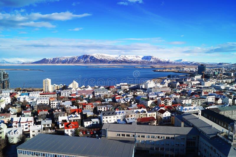 Reykjavik city. Photo taken on Reykjavik city out over the ocean stock photos