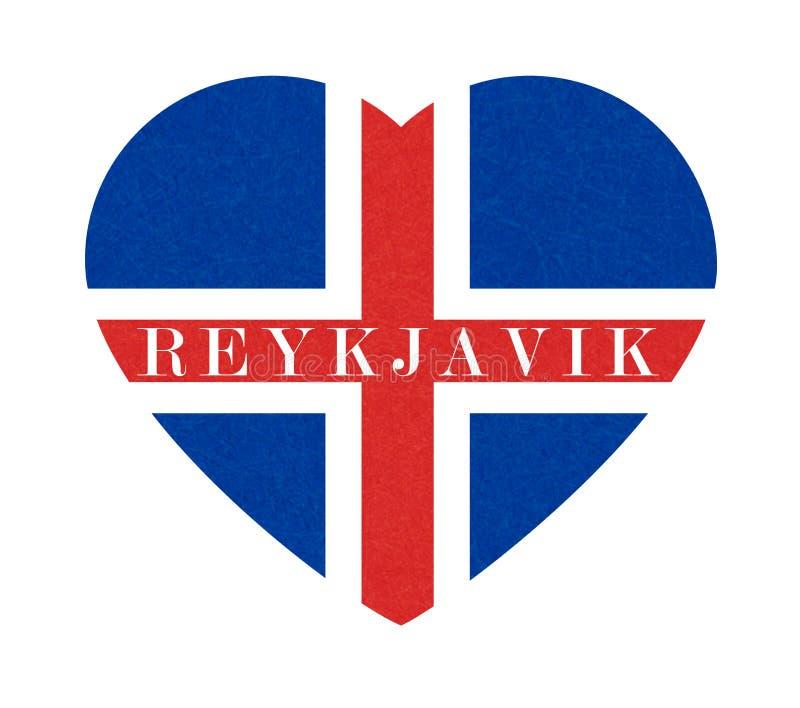 Reykjavik, fond texturisé de drapeau de l'Islande au coeur, bannière islandaise d'isolement avec la texture rayée, grunge illustration de vecteur