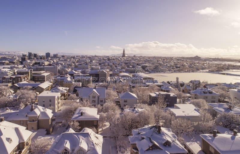 Reykjavik i vinter fotografering för bildbyråer