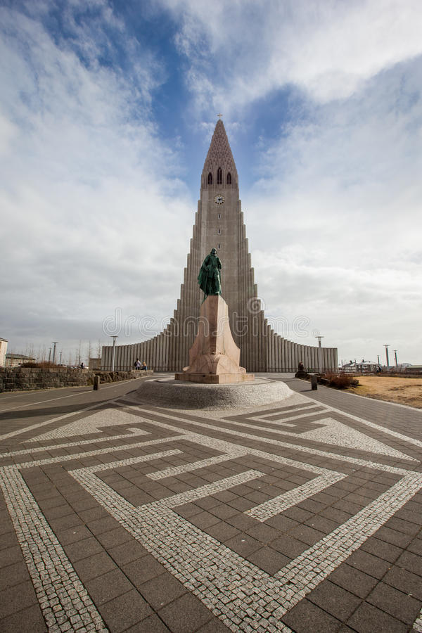 REYKJAVIK, ICELAND - April 03: Hallgrimskirkja Church is a famous and largest church in Reykjavík, Iceland, with statue of Leif royalty free stock photography