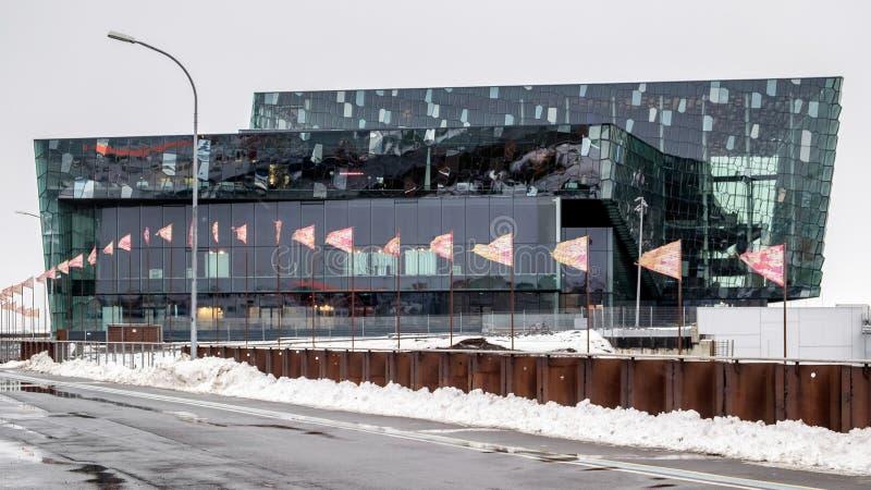 REYKJAVIK/ICELAND - 4 FÉVRIER : Vue extérieure de Harpa Concert image libre de droits