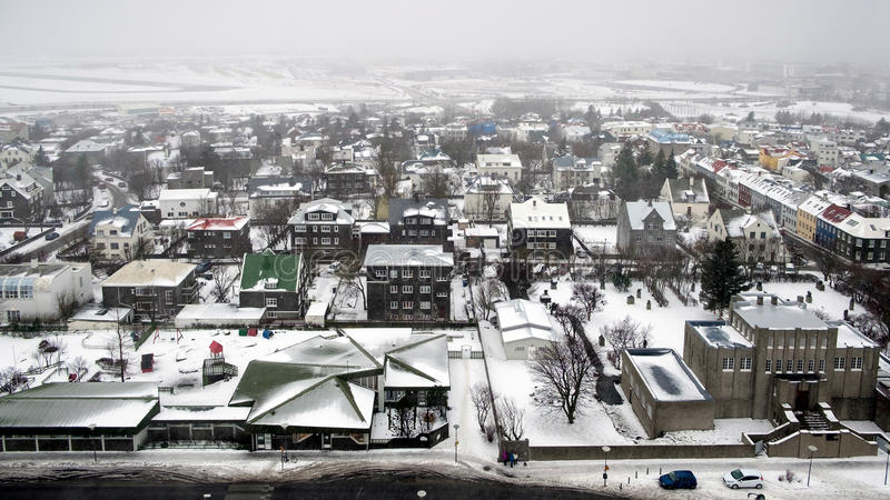 REYKJAVIK/ICELAND - FEB 04 : View over Reykjavik from Hallgrimskirkja Church Iceland on Feb 04, 2016. Unidentified people stock photography