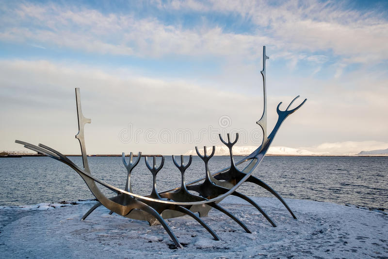 REYKJAVIK/ICELAND - 05 FEBRUARI: Zonreiziger in Reykjavik IJsland  stock afbeelding