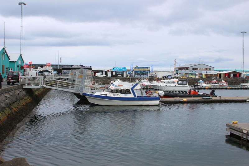 REYKJAVIK ICELAND, Maj, - 08 2018: Stary schronienie port podczas wiosny na Maju 08, 2018 w Reykjavik, Iceland zdjęcie stock