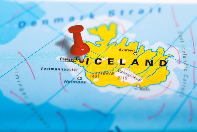 Reykjavik Iceland mapa zdjęcia royalty free