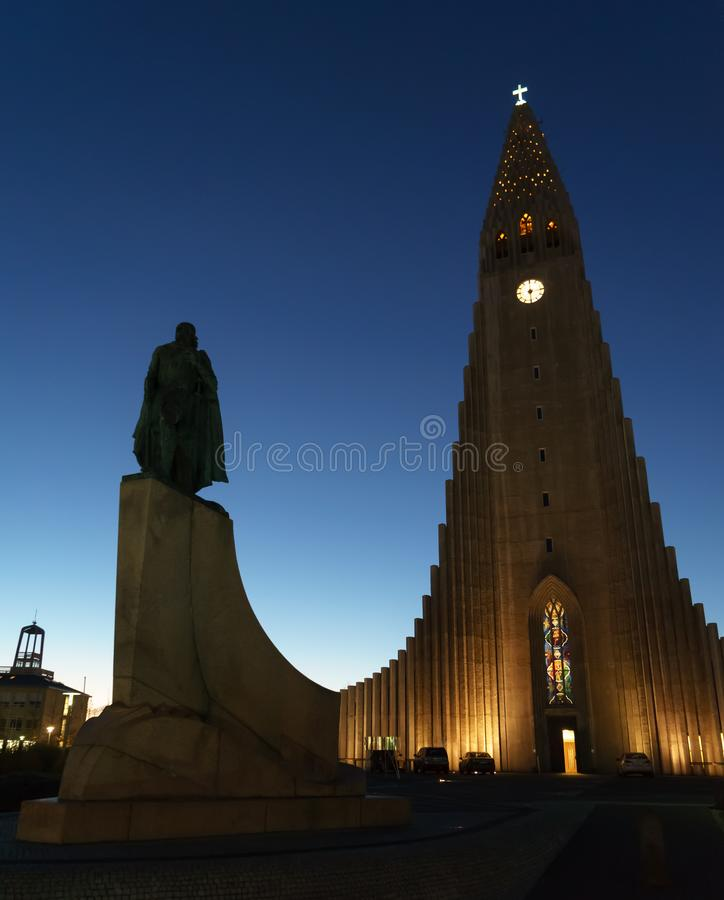 REYKJAVIK,ICELAND/NOVEMBER 01,2017: Hallgrimskirkja Cathedral an. D monument of Leif Erikson, who was actually the first known European sailor to land in North royalty free stock photo