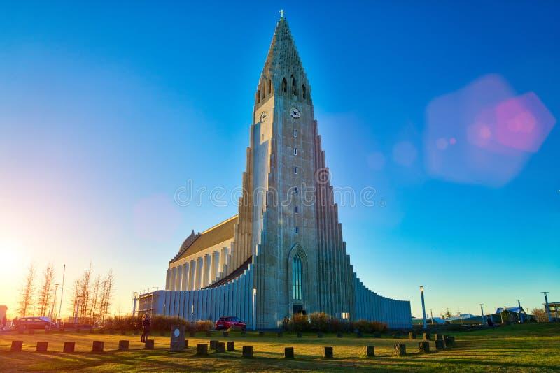 REYKJAVIK,ICELAND/NOVEMBER 01,2017: Hallgrimskirkja Cathedral. And monument of Leif Erikson royalty free stock photo