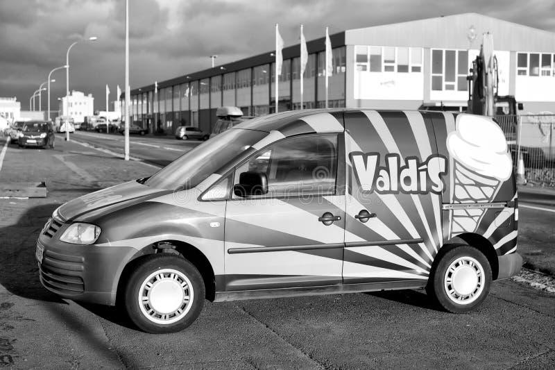 Reykjavik, Iceland - October 14, 2017: car on parking. Ice cream delivery car. Transport and transportation. Food stock photo