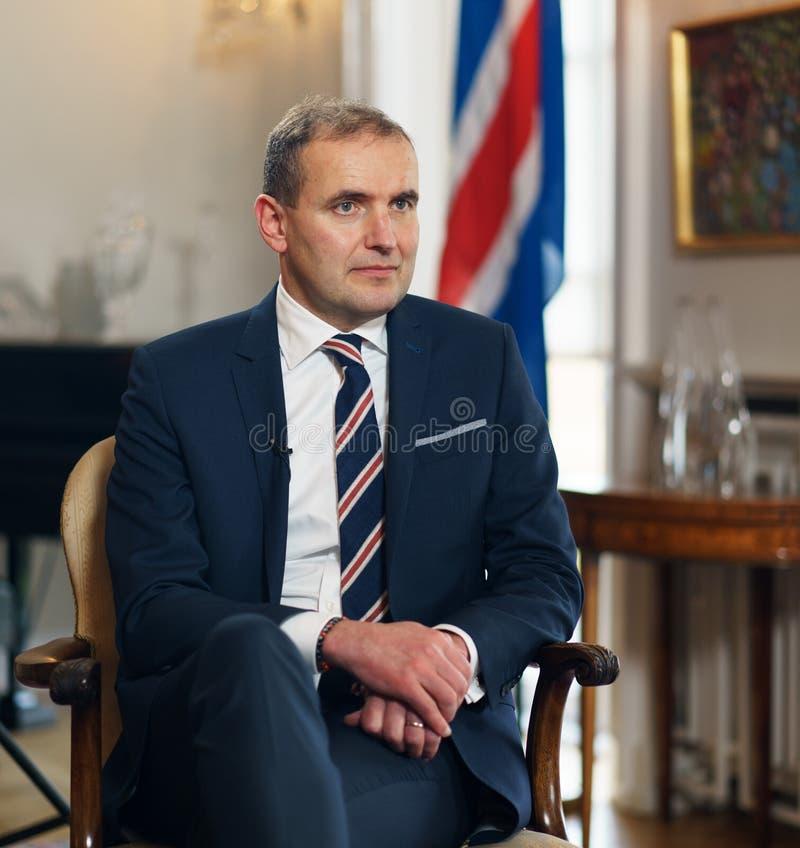 REYKJAVIK, ICELAND/OCTOBER 31,2017 : Président de l'Islande Gudni Jo images libres de droits