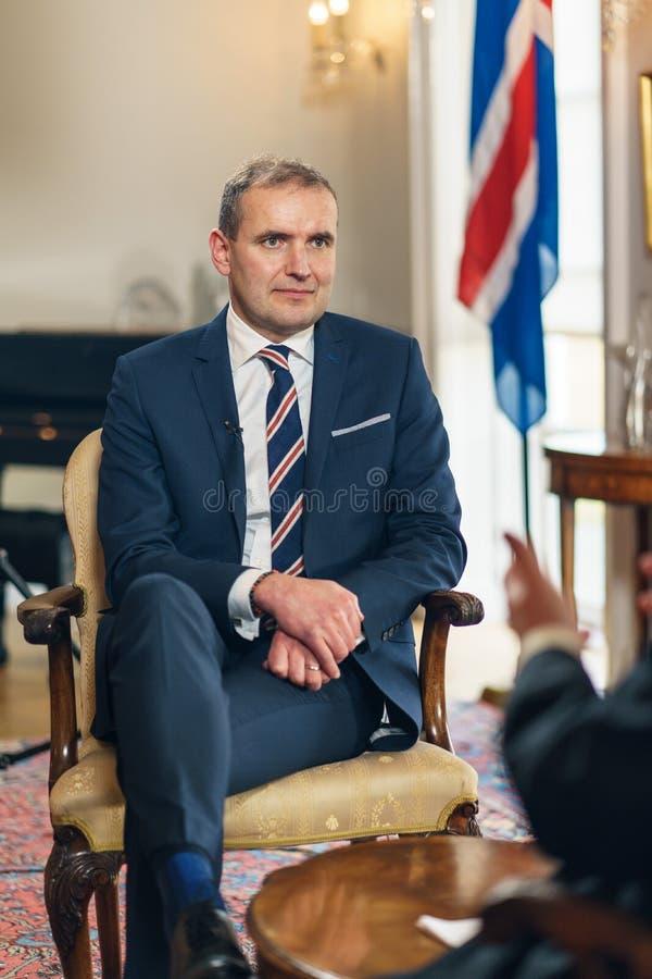 REYKJAVIK, ICELAND/OCTOBER 31,2017 : Président de l'Islande Gudni Jo photographie stock