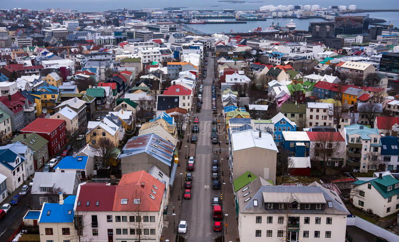 Reykjavik City in Iceland. Aerial view of the city of Reykjavik, the capital of Iceland, and its port royalty free stock photo