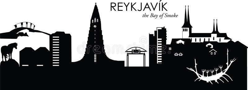 Reykjavik, Iceland. Vector illustration of the skyline cityscape of Reykjavik, Iceland vector illustration