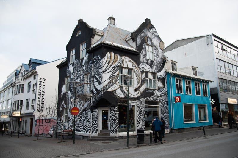 Reykjavik im Stadtzentrum gelegen stockbilder