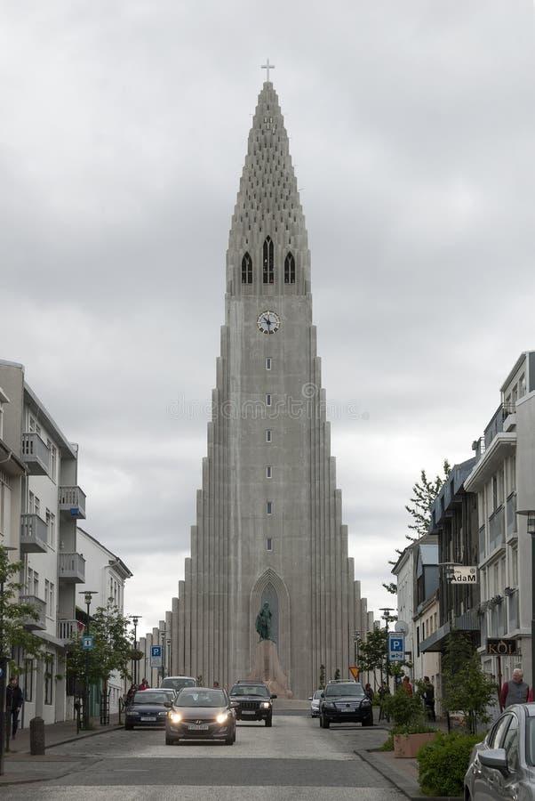 Reykjavik, Island, HallgrÃmskirkja stockfotografie