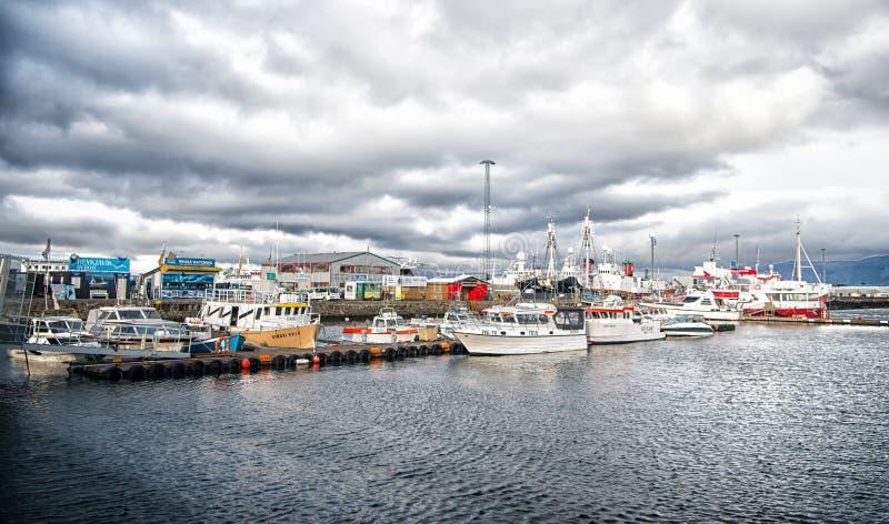 Reykjavik Island - Oktober 13, 2017: yachter på havspir på den lilla byn Segelbåtar på kusten på molnig himmel Vatten fotografering för bildbyråer