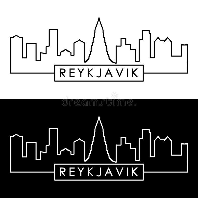 Reykjavik linia horyzontu liniowy styl ilustracji