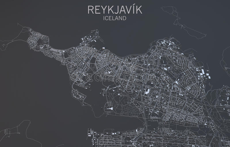 Reykjavik mapa, satelitarny widok, Iceland ilustracja wektor