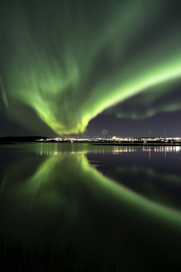 Reykjavik morgonrodnader royaltyfri foto