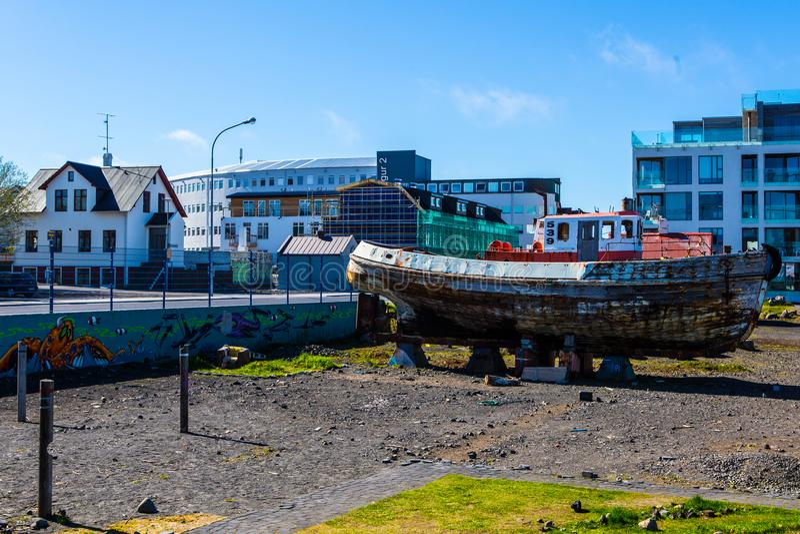 Reykjavik harbor. Reykjavik old harbor with an old fishing ship royalty free stock image