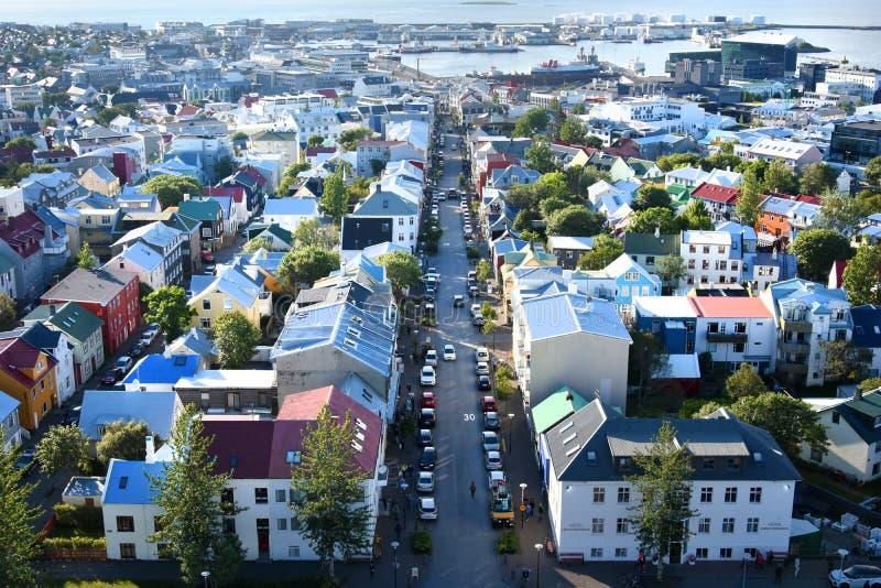 Reykjavik panorama arkivbild