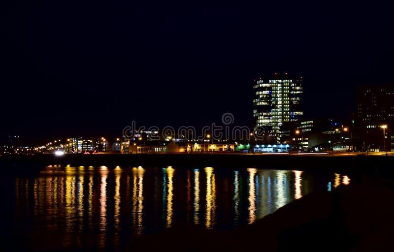 Reykjavik przy nocą zdjęcia stock