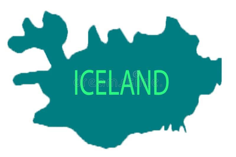 Reykjavik steckte auf eine Karte von Island fest lizenzfreie abbildung