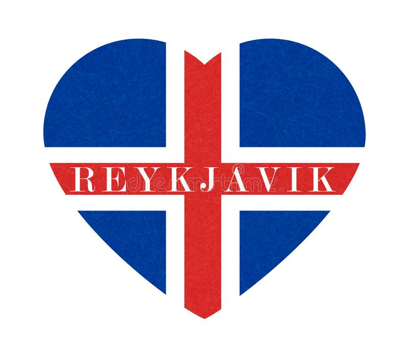 Reykjavik texturerad bakgrund av den Island flaggan i hjärta, isolerat isländskt baner med skrapad textur, grunge vektor illustrationer