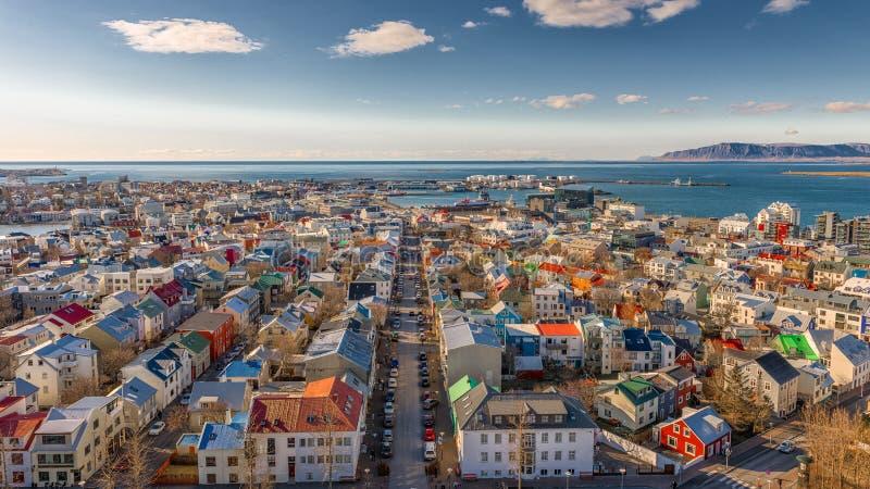 Reykjavik van hierboven royalty-vrije stock fotografie